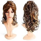 Damen-Perücke, Hochtemperatur-Seide, langes, lockiges Haar, schräger Armreif, Chemiefaser