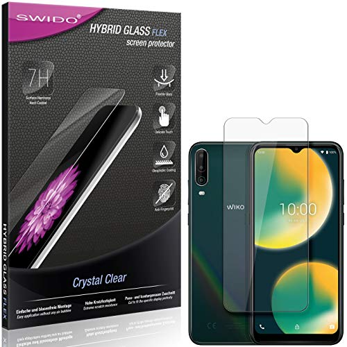 SWIDO Panzerglas Schutzfolie kompatibel mit Wiko View 4 Bildschirmschutz-Folie & Glas = biegsames HYBRIDGLAS, splitterfrei, Anti-Fingerprint KLAR - HD-Clear
