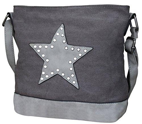 PiriModa Damen Stern Handtasche Schultasche Clutch TOP TREND Tragetasche (M1 Dunkelgrau)