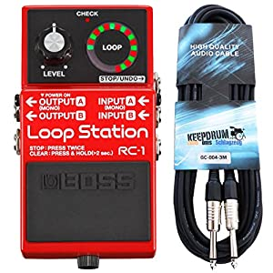 Boss RC-1 Loop Station Looper-Pedal + keepdrum Gitarren-Kabel 3m