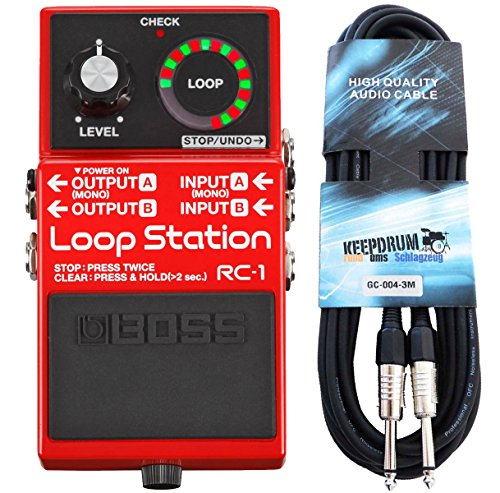 Boss RC de 1 Loop Station Looper Pedal de Keepdrum de guitarra cable 3 m