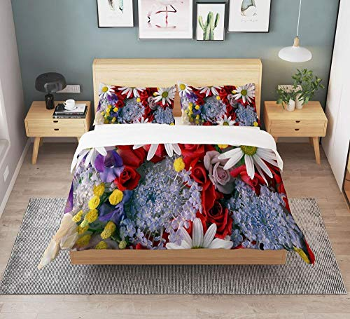 Biancheria da letto con stampa 3D in fiore di fiori di montagna,copripiumino e federa della camera da letto della bambina,adatto per letto singolo matrimoniale queen-size king-size-3-140*210(2pcs)