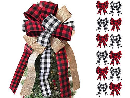 Unsttna Christmas Tree Topper and Mini Bow Bundle, Black Red Buffalo Plaid Burlap Rustice Farmhouse Xmas Ornament Decoration Bow for Christmas Tree Festival Holiday Party - Handmade