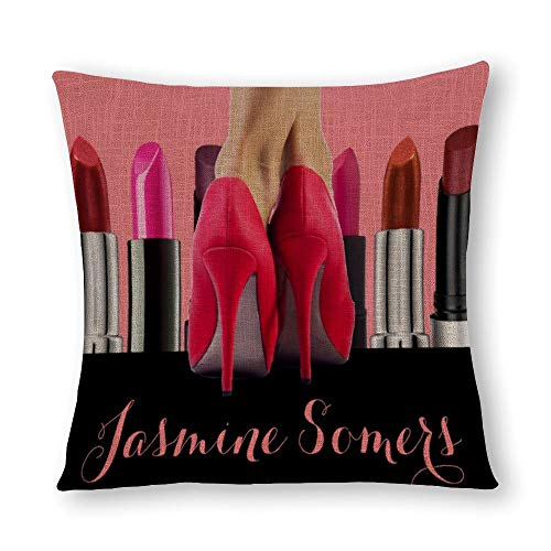 perfecone Home Improvement Cotton Pillowcase Double High Heels Lipstick Tubes Makeup Cosmetics Sofa and car Pillow case 1 Pack 15.7 x 15.7 inches/40 cm x 40 cm