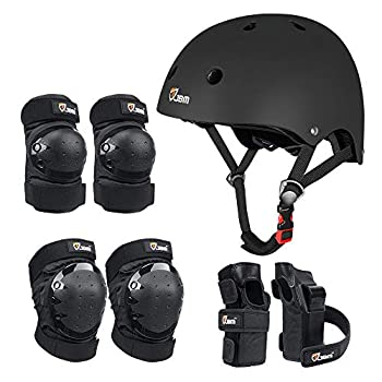 JBM Child & Adults Rider Series Protection Gear Set for Multi Sports Scooter Skateboarding Biking Roller Skating Protection for Beginner to Advanced Helmet Knee and Elbow Pads with Wrist Guards