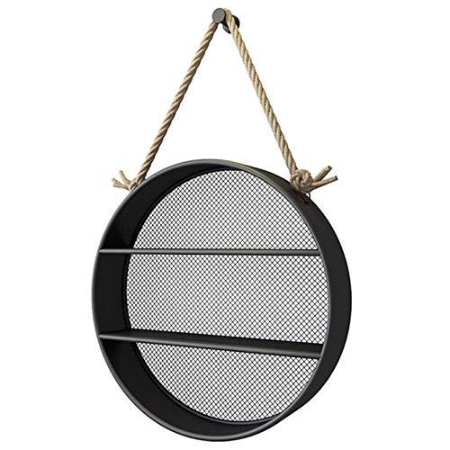 Redondo Estantes De Pared para Pared, Estantería Colgante Estantes para Pared Estantes De Almacenamiento De Decoración De Metal Creativo para Almacenamiento Y Exhibición-Negro