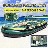 Barco De Pesca Inflable para 3 Personas Engrosamiento PVC Grueso Kayak De Goma Resistente Al Desgaste Barco De Buceo para Surf A La Deriva con Bomba De Pedal Y Paleta