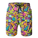Richard Lyons Funky Geometric 80s Memphis Fashion Style Colorful Figures Pop Art Inspired Pattern Men's Quick Dry Beach Shorts Casual Comfortable Surf Shorts X-Large