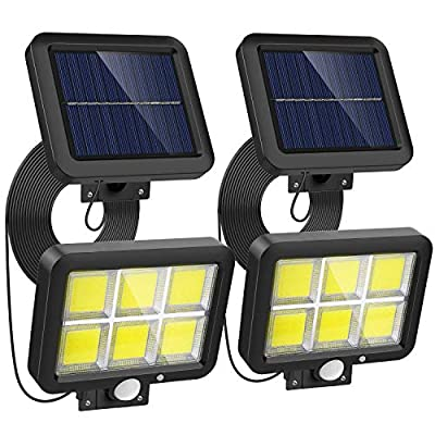 Motion Sensor Lights Outdoor Solar Powered with 240 Advanced COB LED, 16.4Ft Cable, 3 Lighting Modes, Adjustable Solar Panel. Waterproof Wired Security Flood Lights for Indoor Outside(5500K, 2 Pack)