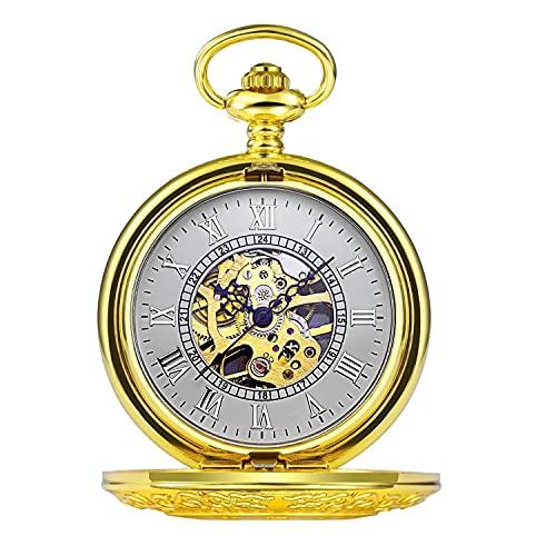 TaiWang Reloj de Bolsillo Vintage con Cadena clásica sueño sueño dragón Hueco Perspectiva Reloj Inferior para Hombres Mujeres y Caja de Regalo,Gold