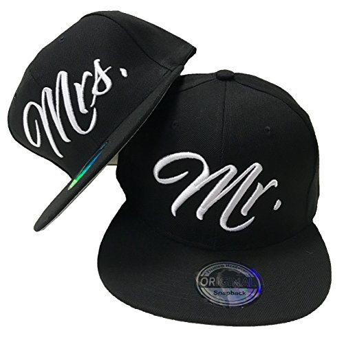 JameStyle26 Mr. & Mrs. Snapback Set USA Cap Kappe Basecap Mütze Trucker Cappy Kult (Mr. Mrs. Set Schwarz)