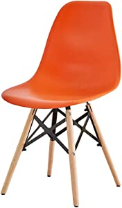 JINXUXIONGDI Nordic Eames Chair Modern Minimalist Lazy Student Desk Stool Chair Home Makeup Chair Solid Wood Beech (Color : Orange)