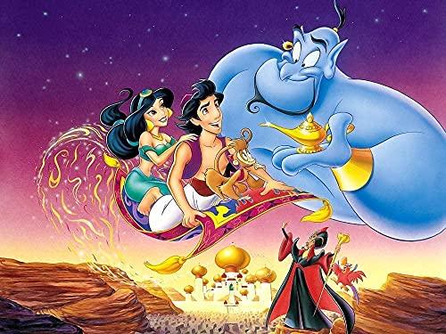 EDZXC-1000 Piezas De Rompecabezas,Juego De Colocación De Rompecabezas De Coloresmateriales Reciclables Impresión De Alta Resolución-Póster de la película Aladdin-1000 Piezas(38X26cm)