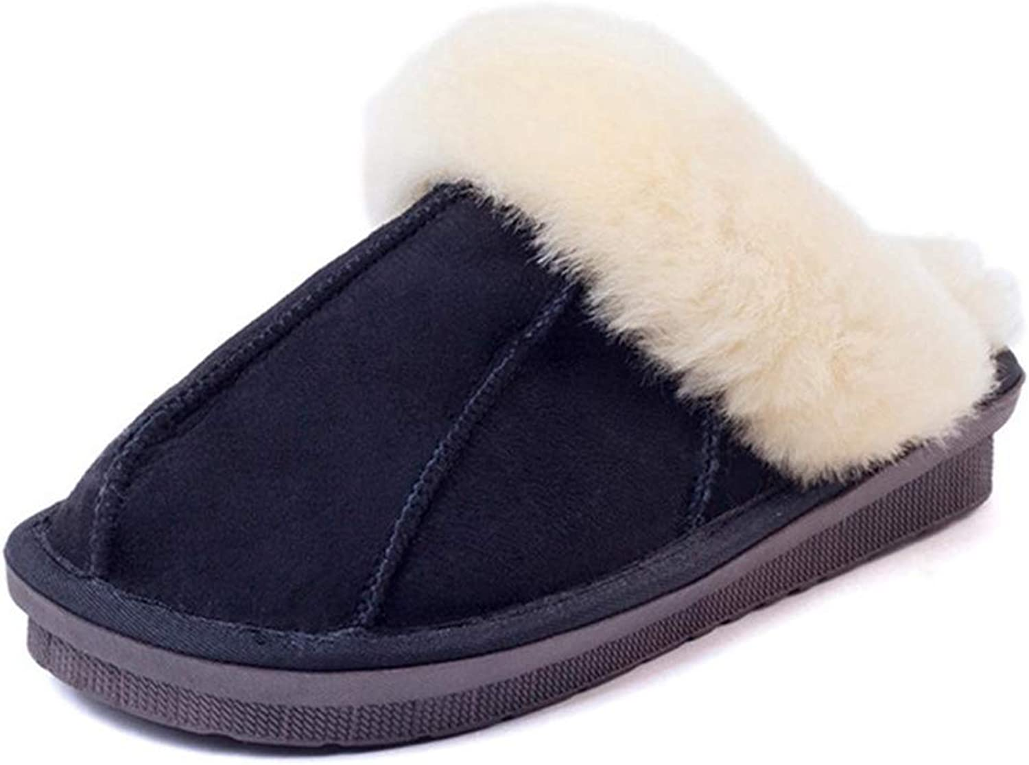 Nafanio Winter Warm Indoor shoes Thick Wool Slippers Women Men Couple Furry Sheepskin Genuine Leather Slippers