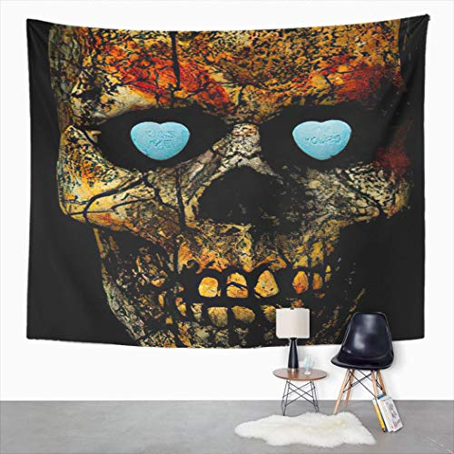 Trikptey Tapestry Kiss Me I M Yours on Candy Hearts Inside Skull Eye Sockets Tapestry Wall Hanging Wall Cloth Tapestry Carpet for Living Room Bedroom Home Dorm Decor 28''x37''