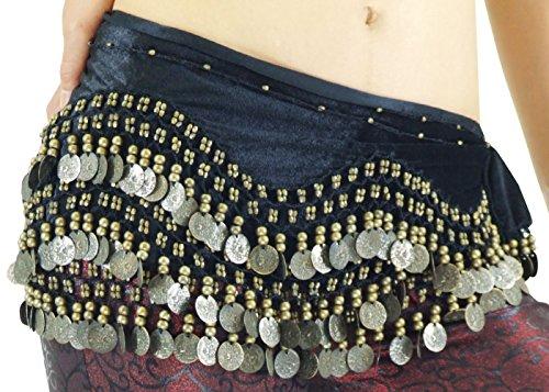 DFギャラリー ヒップスカーフ ベリーダンス衣装 アンティーク風コイン べロア BB46084 ブラック フリー