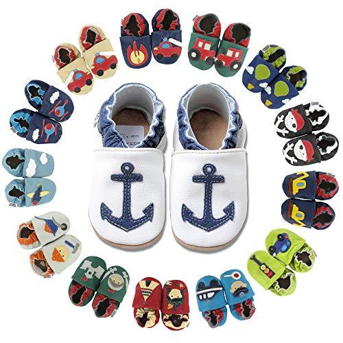 HOBEA-Germany Baby Krabbelschuhe Jungen, Kinderhausschuhe Jungen, Lederschuhe, Schuhgröße:16/17 (0-6 Monate), Modell Schuhe:Blauer Anker auf weiß