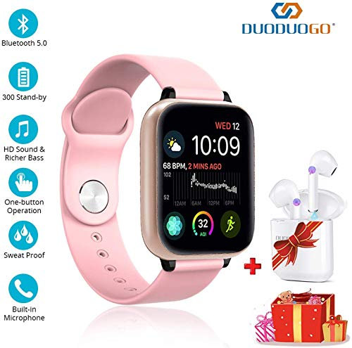 Smart Watches and Bluetooth Headphones for Android/iOS 2 in 1, Ip68 Waterproof with1.3 Inch HD Full Screen Smart Bluetooth Bracelet, Bluetooth 5.0, Wireless Touch Screen Earphones