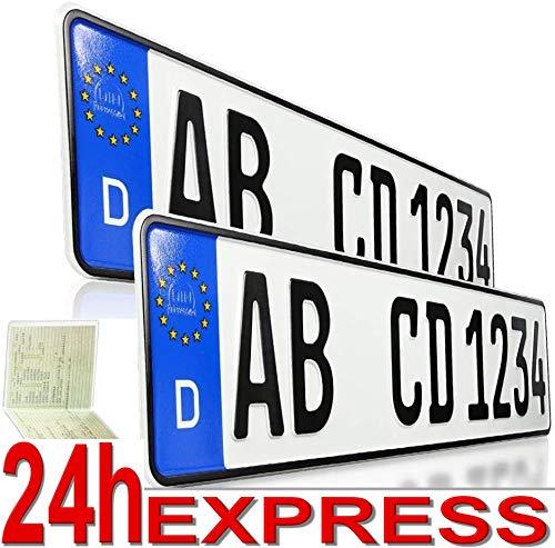 2 Kfz Kennzeichen | 520 x 110 mm | DIN-Zertifiziert – EU Wunschkennzeichen mit individueller Prägung | PKW Nummernschilder | Standard Autokennzeichen | Auto-Schilder | INKL.DHL Express