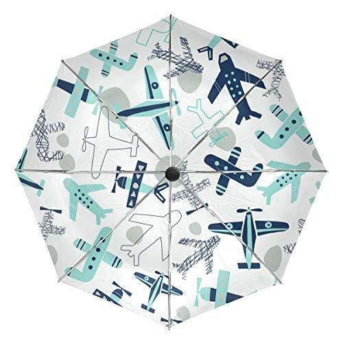 Kompakter Reise-Regenschirm, im Flugzeug-Design, faltbar, wendbar, winddicht, mit UV-Schutz, ergonomischer Griff, automatisches Öffnen/Schließen
