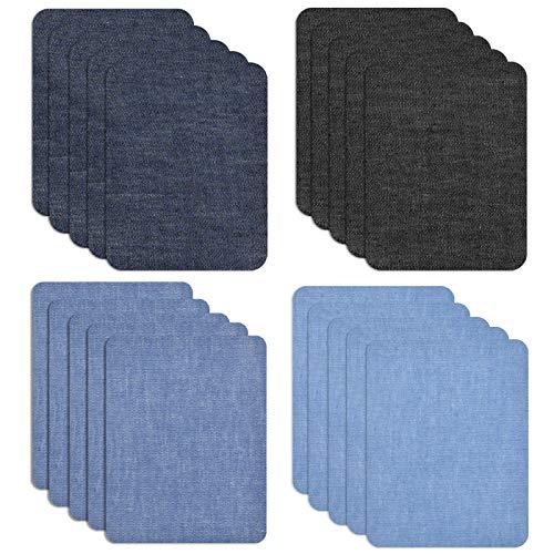 Chstarina 20 Stück Flicken zum Aufbügeln, Patches zum Aufbügeln, 12.5 * 9.5cm 4 Farben Denim Baumwolle Flicken Aufbügelflicken Bügelflicken Denim Patches Bügeleisen Reparatursatz für Jeans Kleidung