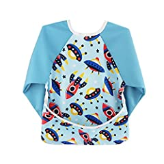 High Quality Bib:The Baby Waterproof Sleeved Bib is made from Super waterproof TPU, easy wipe off, stain and odor resistant polyester fabric for infant and toddler, which is soft, breathable material. Lead free, PVC free, BPA free, Phthalates free, a...