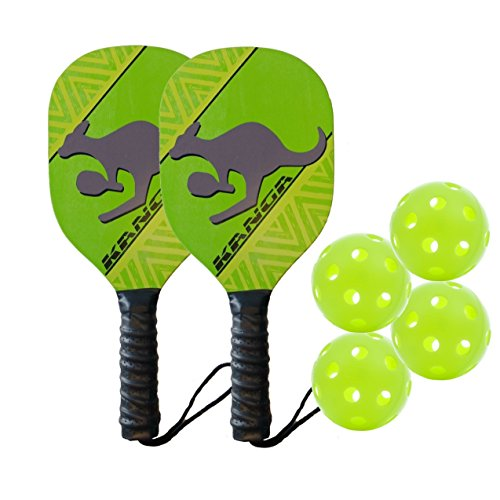 PickleballCentral Kanga Wood Pickleball Paddles, 2 Paddle/4 Ball Bundle