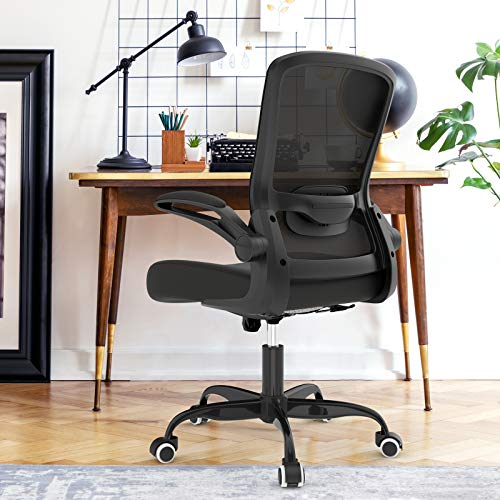 Mimoglad Office Chair, High Back Executive Computer Desk Chair - Adjustable Height and Flip-up Arms Swivel Chair Thick Padding for Comfort and Ergonomic Design for Lumbar Support (Black)…
