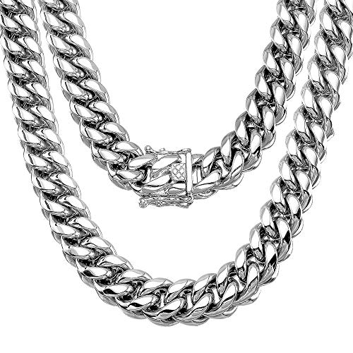 Jewelry Kingdom 1 Mens Necklace, Cuban Link Chain Silver, 15MM Big and Heavy Miami Chain 15MM, High Polishing Stainless Steel Curb Chain Choker for Boys and Bikers. (Length of 18 )