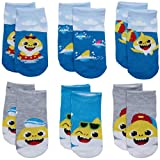Nickelodeon Boys' & Girls' Baby Shark Low Cut Socks (6 Pack), Baby Shark 2, Size Age 12-24M