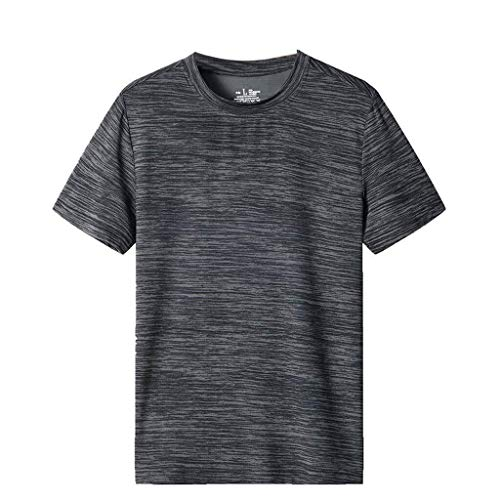 Mannen korte mouwen Tops Summer Casual Pure Color O Neck Elastic T-shirt Blouse Sport Running Training Kleding Loose Fit Fast Dry ademend Comfortabele (Color : Gray, Size : M)