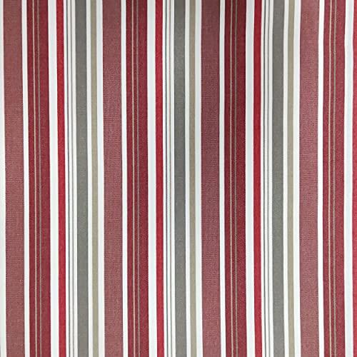 Panini Tessuti, Tessuto da esterno venduto al mezzo metro, 1 qtà=50 cm;2 qtà=100 cm; ideale per rivestimenti da esterno,poltrone,divani,sedie,cuscini,tovaglie,sdrai,lettini (Righe Irregolari Rosso 22)