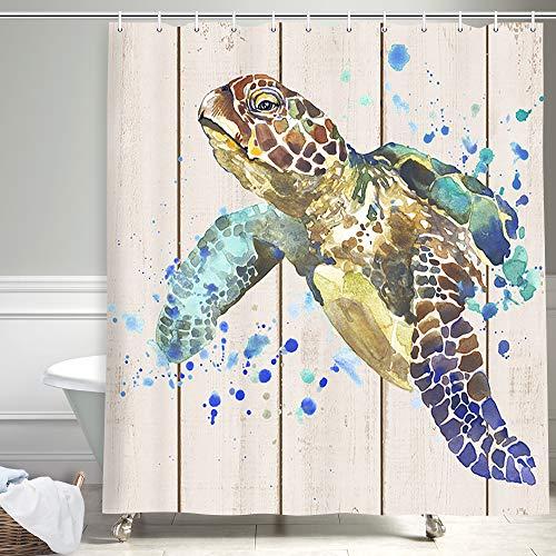 NYMB Ocean Tiere Ziegel Meer Schildkröte Duschvorhang Aquarell Türkis Schildkröte auf rustikalem Holzbrett Stoff Duschvorhang für Badezimmer, Küstentiere Badvorhang Dekorationen 69