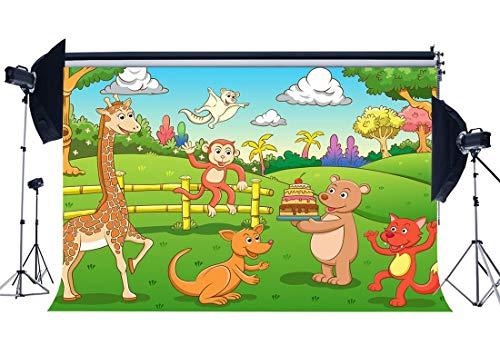 BuEnn Vinilo 5X3FT Parque zoológico Telón Fondo Animales Telones Fondo Pastel Aplastar Jirafa Bosque Selva Hierba Verde Prado Dibujos Animados Fondo para niños Feliz cumpleaños fotográfico