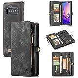 ToneSun Handyhülle für Samsung Galaxy S10 Plus Hülle, S10+ Wallet Lederhülle [Nicht für S10], 2 in 1 Abnehmbare Leder Flip Schutzhülle: Geschäft Multifunktionale Tasche Cover in Schwarz