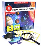 Solar System Spy Puzzle with Flashcards and Magnifying Glass 2ft X 3ft- Large 48 Piece Space Floor Puzzles for Kids Ages 4-8 Years Old-Gift for Boys and Girls 3,4,5,6,7,8