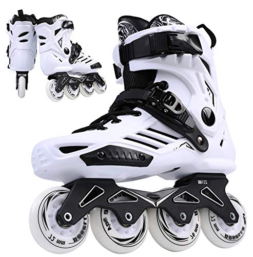XJBHD Pattini in Linea per Donne e Uomo Carbonio Rollerblade Professionale Pattini a Rotelle Pattini Comodi Scarpe Speed Skating Ldeali per Principianti per Adulti Sport Outdoor White-37