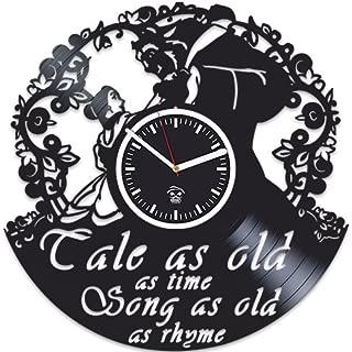 Kovides Vinyl Wall Clock, Beauty and The Beast 2017, Belle Movie, Handmade, Best Gift for Girl, Vinyl Record Clock, Silent Mechanism, Wall Sticker, Modern Wall Art