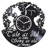 Kovides Vinyl Wall Clock, Beauty and The Beast 2017, Belle Movie, Handmade, Best Gift for Girl, Vinyl Record Clock, Silent Mechanism, Wall Sticker, Modern Wall Art, Valentines Day Gift