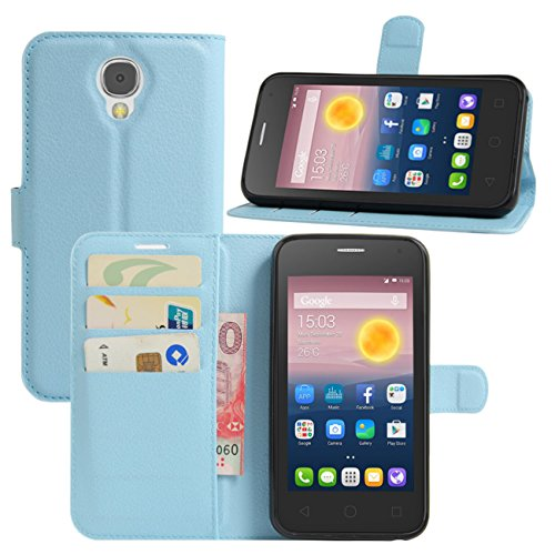 HualuBro Alcatel Pixi 4 (5 Zoll) 3G Hülle, Leder Brieftasche Etui Tasche Schutzhülle HandyHülle [Standfunktion] Lederhülle Flip Case Cover für Alcatel OneTouch Pixi4 5.0 Zoll 3G 5010D (Blau)