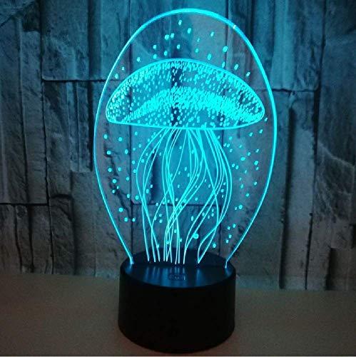 Qualle 3D Luz nocturna LED 3D, lámpara 3D, 20 cambios de color, mesa de escritorio, dormitorio, iluminación nocturna infantil, regalo de Navidad