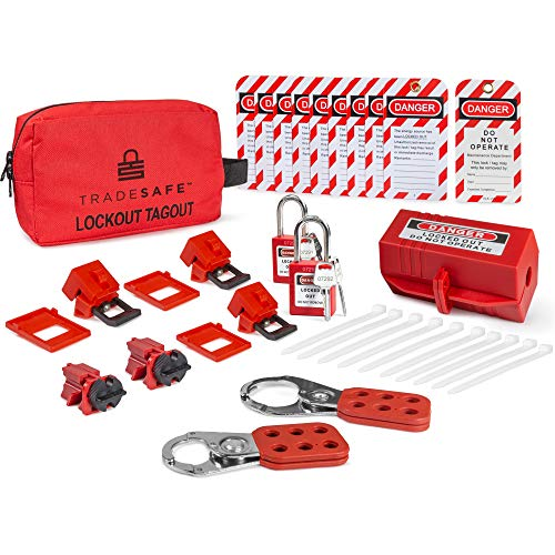 TRADESAFE Electrical Lockout Tagout Kit - Hasps, Clamp on and Universal Multipole Circuit Breaker Lockouts, Loto Tags, Plug Lockout, Safety Padlocks Set (2 Keys Per Lock) for Lock Out Tag Out
