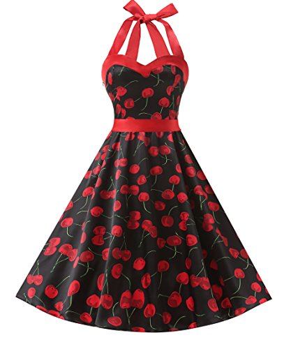 Dresstells DRESSTELLS Neckholder Rockabilly 1950er Polka Dots Punkte Vintage Retro Cocktailkleid Petticoat Faltenrock Cherry Black 3XL