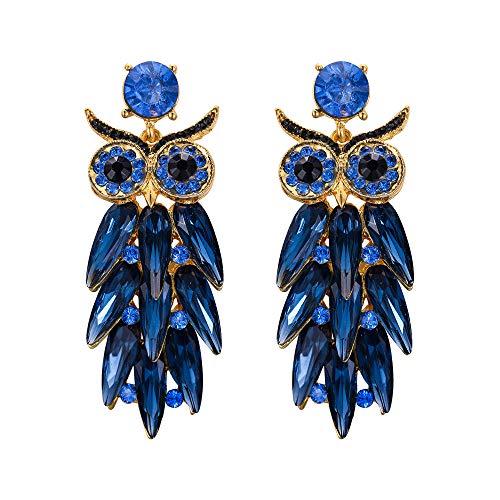 Pendientes Ever Fait Owl para mujer y niña, cristal austriaco, diseño de pájaro y pájaro, color azul