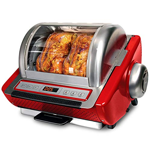 Ronco Showtime EZStore Large Capacity Rotisserie amp BBQ Oven Digital Controls Compact Storage Perfect Preset Rotation Speed SelfBasting Auto Shutoff Includes Multipurpose Basket red