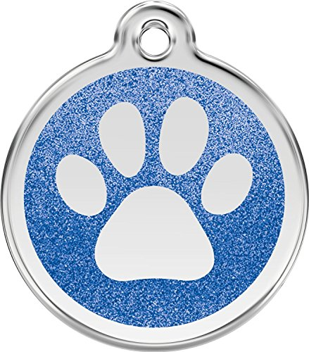 K9 Palace Red Dingo Stainless Steel with Glitter Pet I.D. Tag - Paw Print (Dark Blue, Large)
