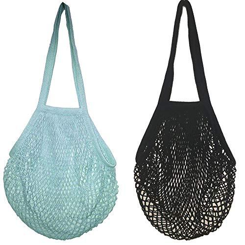 Rmeet Einkaufsnetz,2er Pack Wiederverwendbare Netzschnur Einkaufstasche Große Netztasche mit Langem Tragegriff Baumwoll Netzbeutel für Obst Gemüse Schwarz und Grün