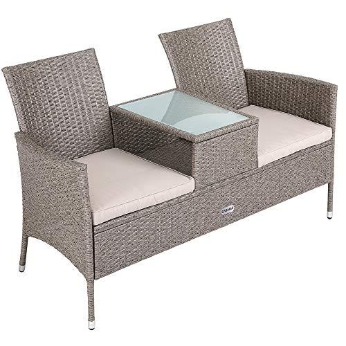 Casaria Banco de 2 plazas de Poliratán 143x55x88cm con reposabrazos Respaldo sofá Muebles para jardín terraza balcón Patio