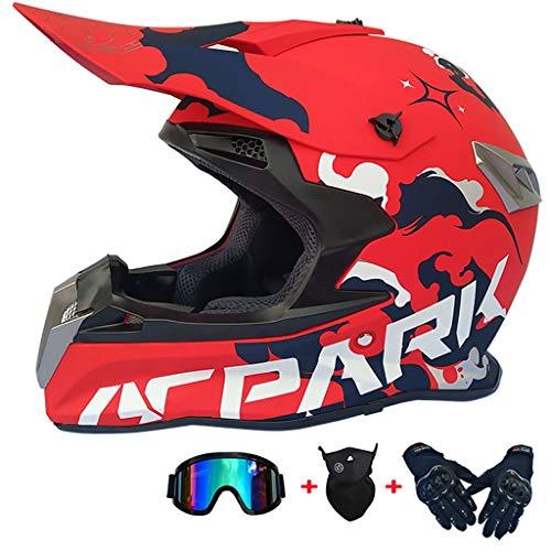 CHAOYUE Motocross Helmet with Goggles Gloves Mask Adult Motorcycle ATV Off Road Helmet MTB Unisex Full Face Crash Helmets DOT Certified, for Adult Men Women