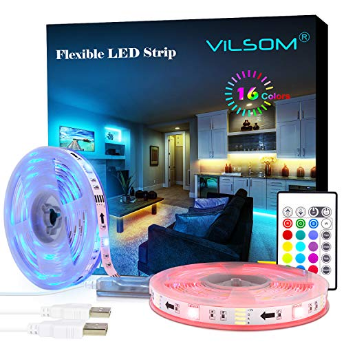 LED Strip Lights, ViLSOM 20ft(2x10ft) USB RGB Led Light Strip Kit with Remote, SMD 5050 LED Color Changing Rope Lights for 40-100in TV Backlight, Bedroom, Room, Party, DIY Home Decorations